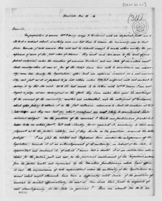 Thomas Jefferson to Joseph C. Cabell, December 22, 1824