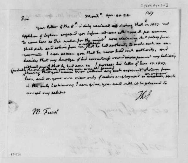 Thomas Jefferson to M. Furst, April 20, 1824
