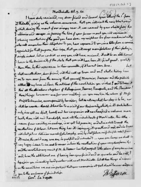 Thomas Jefferson to Marie Joseph Paul Yves Roch Gilbert du Motier, Marquis de Lafayette, October 9, 1824