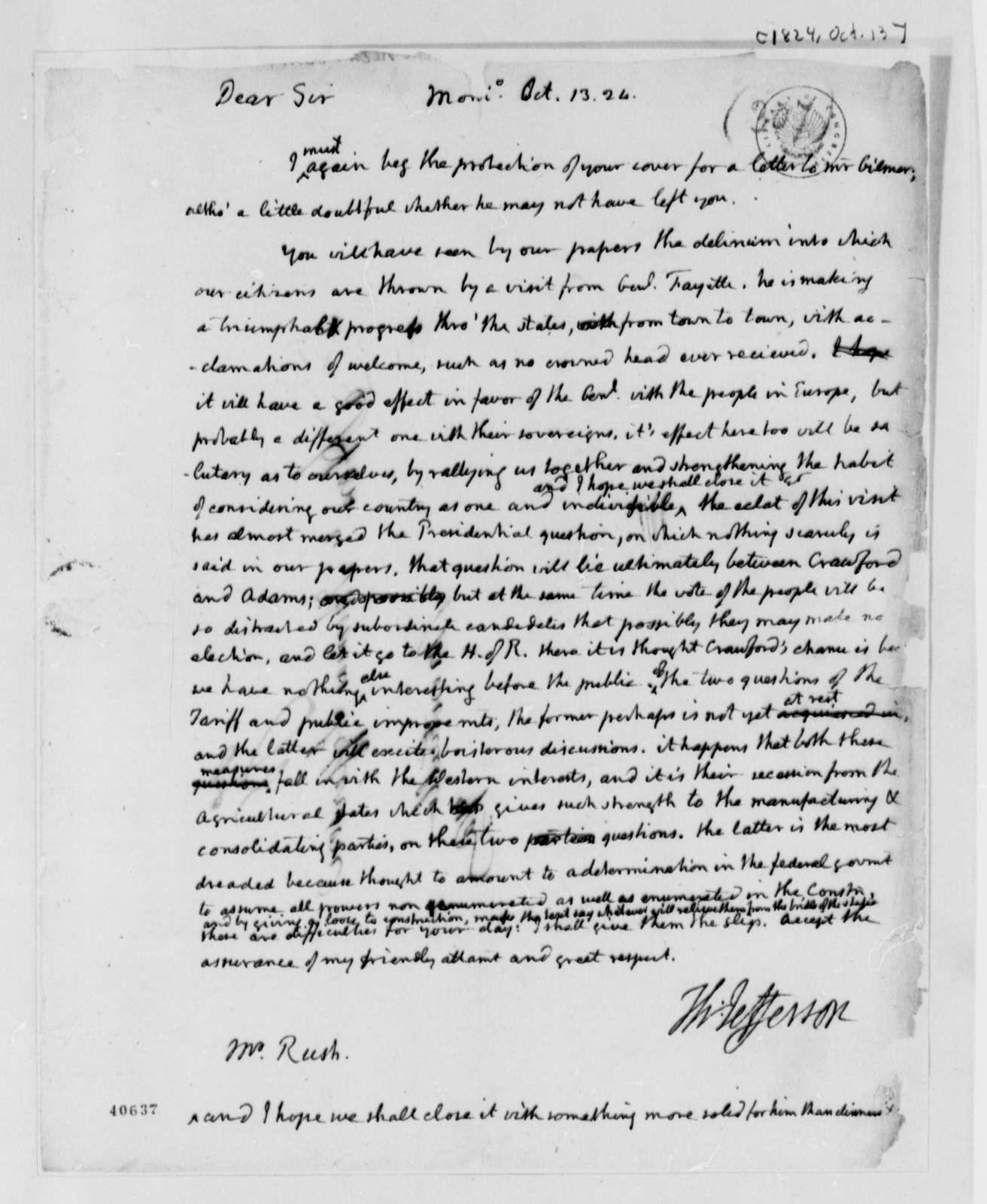Thomas Jefferson to Richard Rush, October 13, 1824