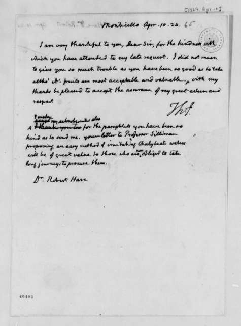 Thomas Jefferson to Robert Hare, April 10, 1824