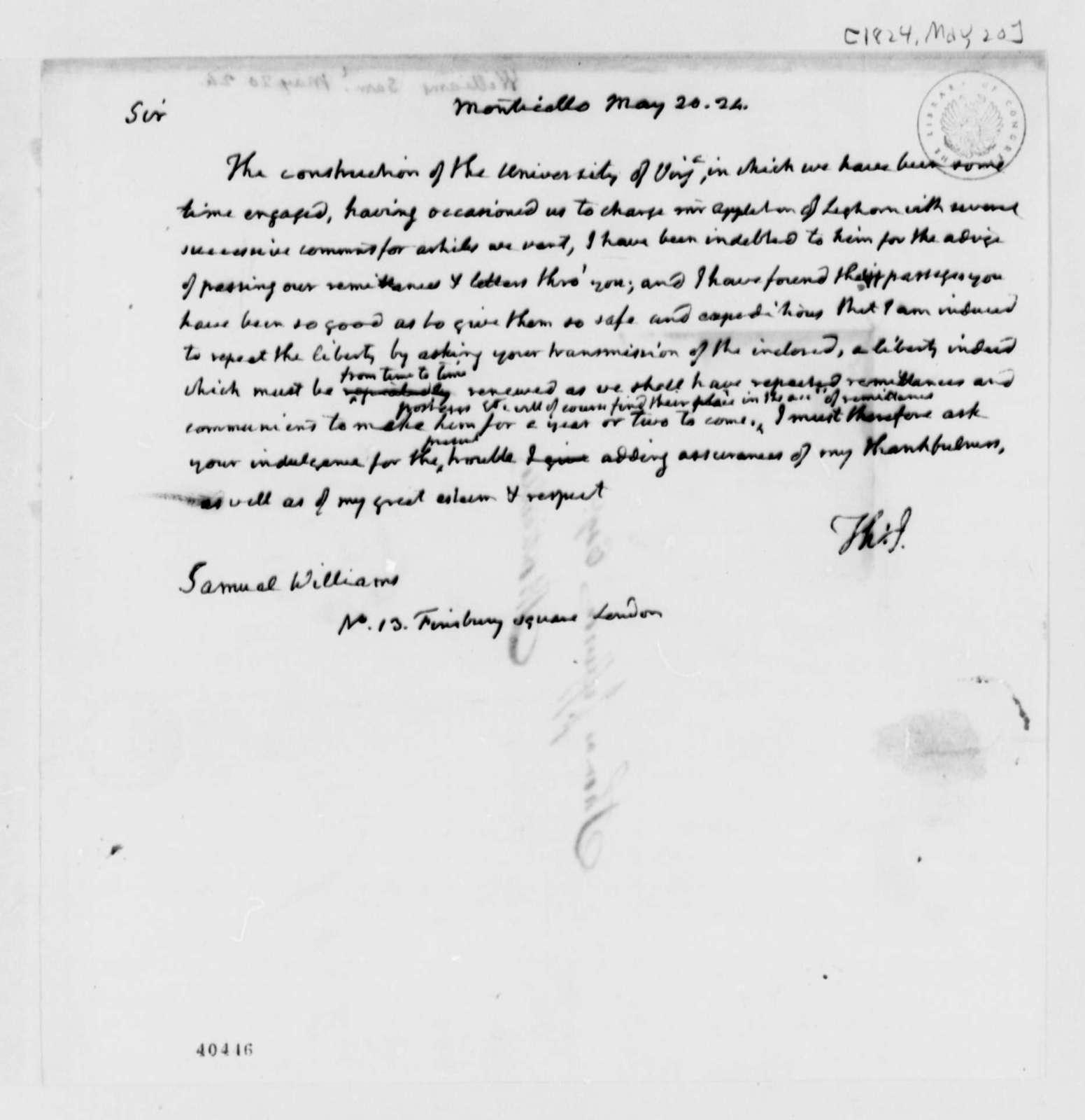 Thomas Jefferson to Samuel Williams, May 20, 1824