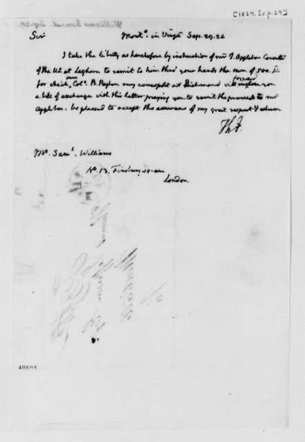 Thomas Jefferson to Samuel Williams, September 29, 1824