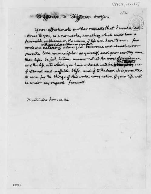 Thomas Jefferson to Sarah Grotjan, January 10, 1824