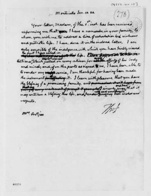 Thomas Jefferson to Thomas Jefferson Grotjan, January 10, 1824