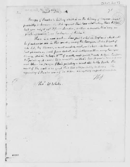 Thomas Jefferson to Thomas W. White, January 7, 1824, in French