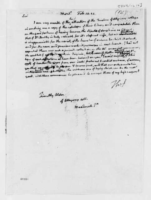 Thomas Jefferson to Timothy Alden, February 14, 1824