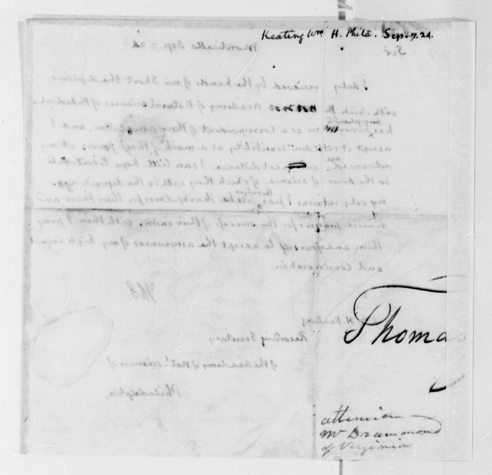 Thomas Jefferson to William H. Keating, September 7, 1824
