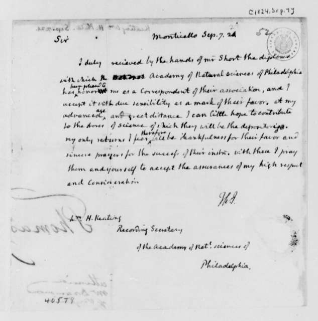 Thomas Jefferson to William H. Keating, September 7, 1824