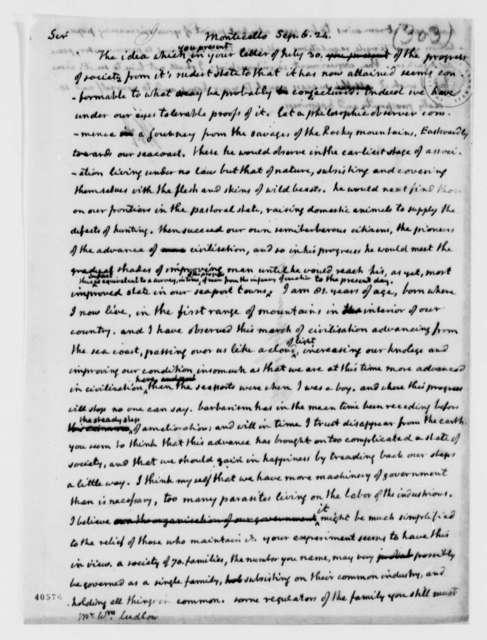 Thomas Jefferson to William Ludlow, September 6, 1824