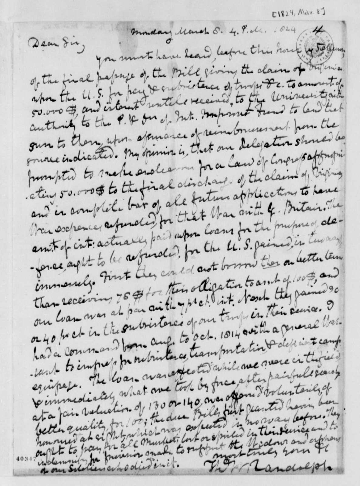 Thomas Mann Randolph, Jr. to Thomas Jefferson, March 8, 1824