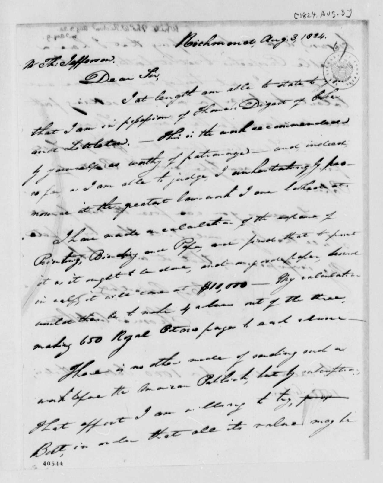 Thomas W. White to Thomas Jefferson, August 3, 1824