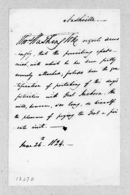 Thomas Washington to Andrew Jackson, June 26, 1824