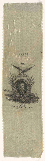 Tiller's Lafayette badge. Liberty equality & public order. Copyright secured by Congress Sept. 3, 1824. [Satin ribbon.]