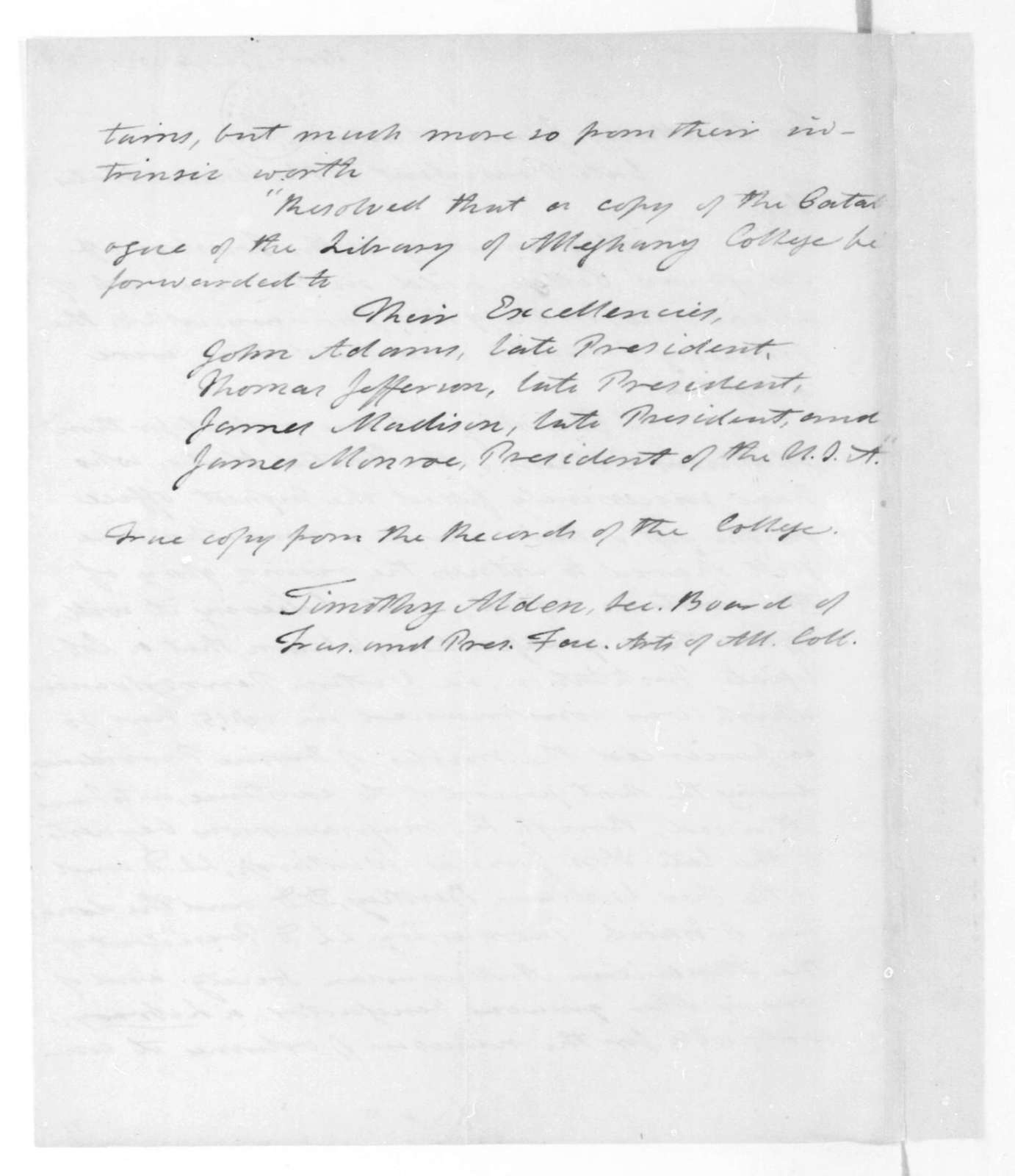 Timothy Alden to James Madison, January 6, 1824. Alleghany College Trustees.