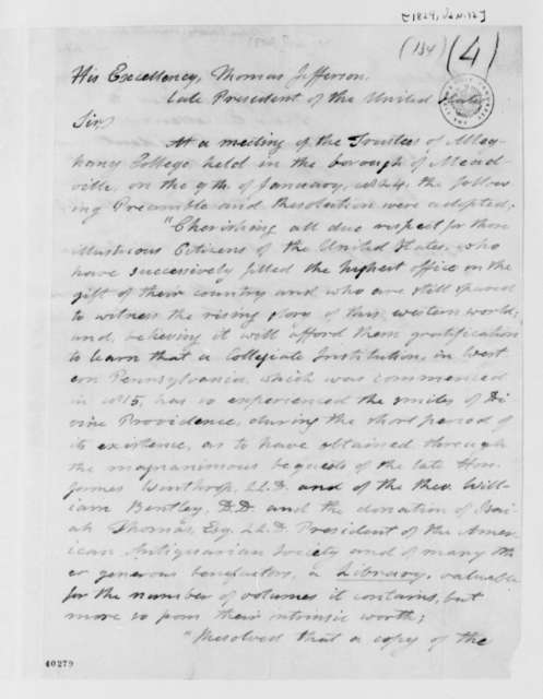 Timothy Alden to Thomas Jefferson, January 12, 1824