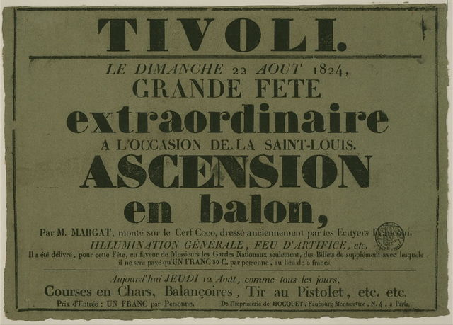 Tivoli. Le dimanche 22 aout, 1824, grand fete extraordinaire a l'occasion de la Saint-Louis. Ascension en balon, par M. Margat ...