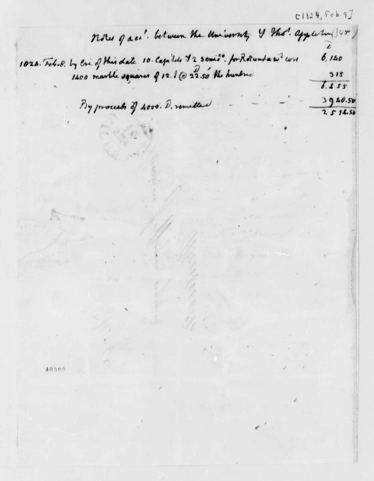 University of Virginia & Thomas Appleton, February 8, 1824, Account