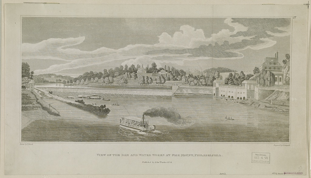 View of the dam and water works at Fairmount, Philadelphia / drawn by T. Birch ; engraved by R. Campbell.