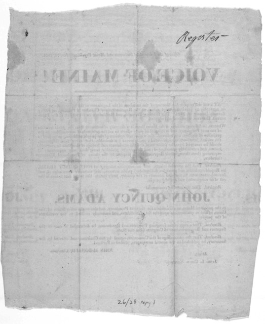 Voice of Maine! As a full and respectable meeting of the members of the Legislature of the State of Maine, holden agreeably to previous notice, at the Representatives' Chamber in Portland, on Friday Evening, January 16, 1824. The following pream