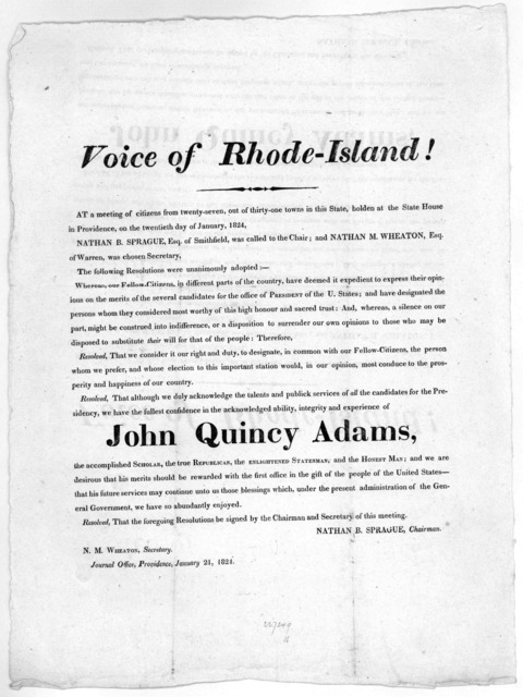 Voice of Rhode-Island! At a meeting of citizens from twenty-seven, out of thirty-one towns in this State, holden at the State House in Providence, on the twentieth day of January, 1824 Nathan B. Sprague, Esq. of Smithfield, was called to the cha