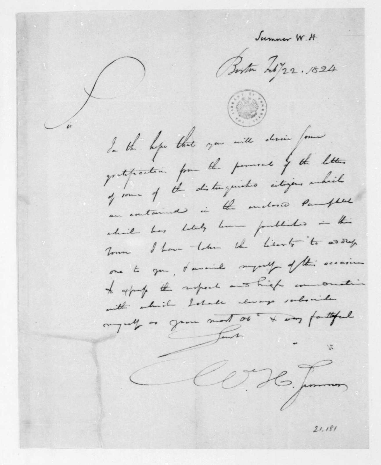 W. H. Sumner to James Madison, February 22, 1824.