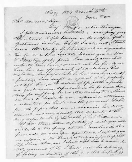 William Browne to James Madison, March 4, 1824.