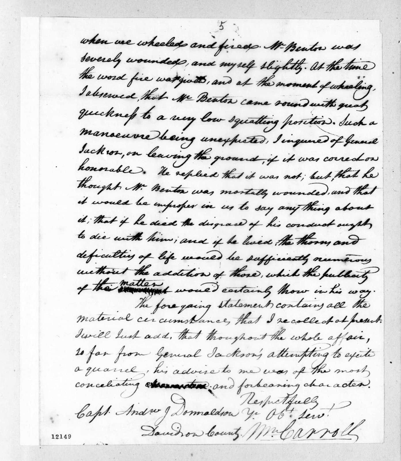 William Carroll to Andrew Jackson Donelson, October 4, 1824