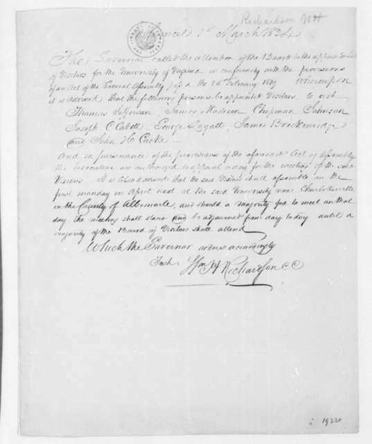 William H. Richardson to Thomas Jefferson et al, March 1, 1824.