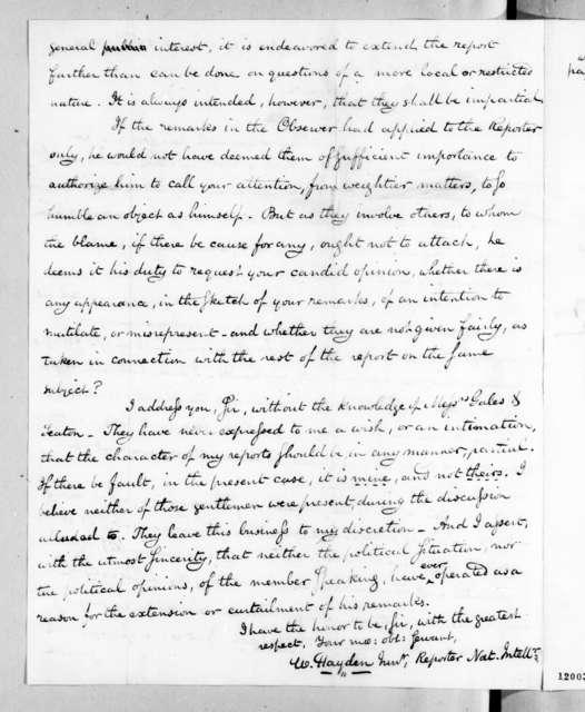 William Hayden Jr. to Andrew Jackson, March 29, 1824