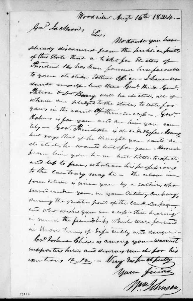 William Johnson to Andrew Jackson, August 16, 1824