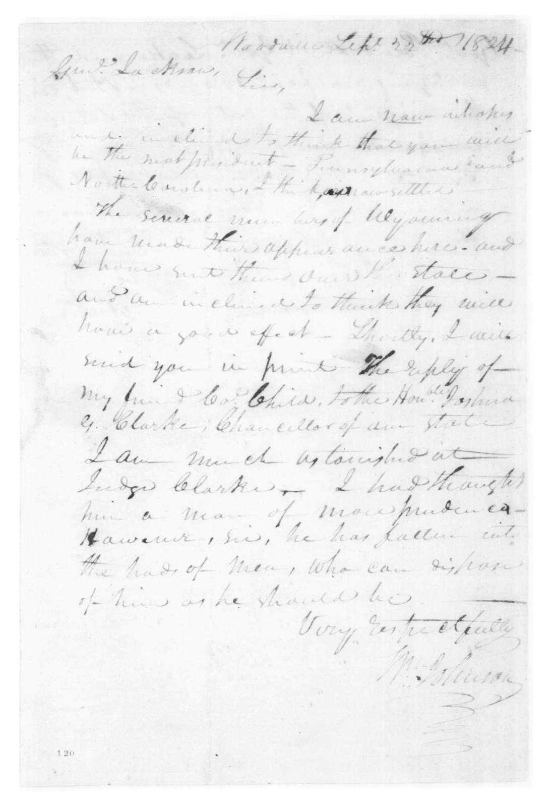 William Johnson to Andrew Jackson, September 22, 1824