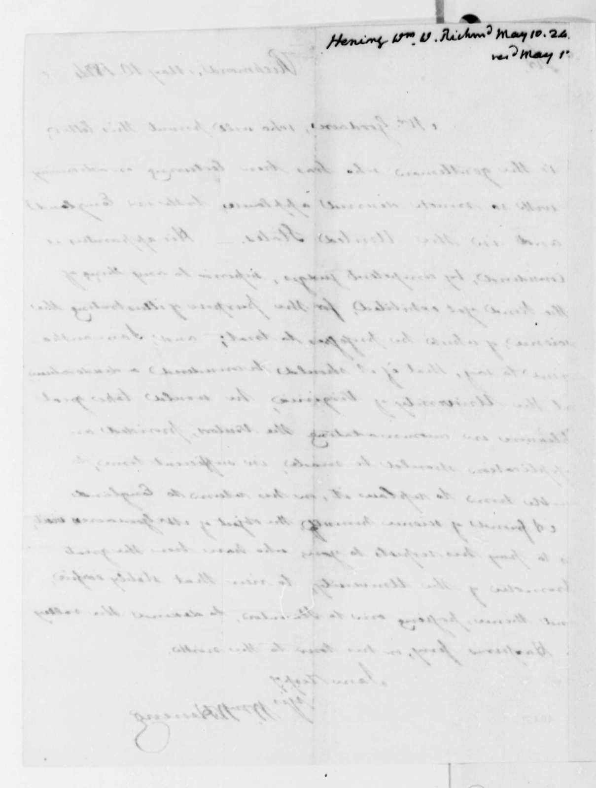 William Waller Hening to Thomas Jefferson, May 10, 1824