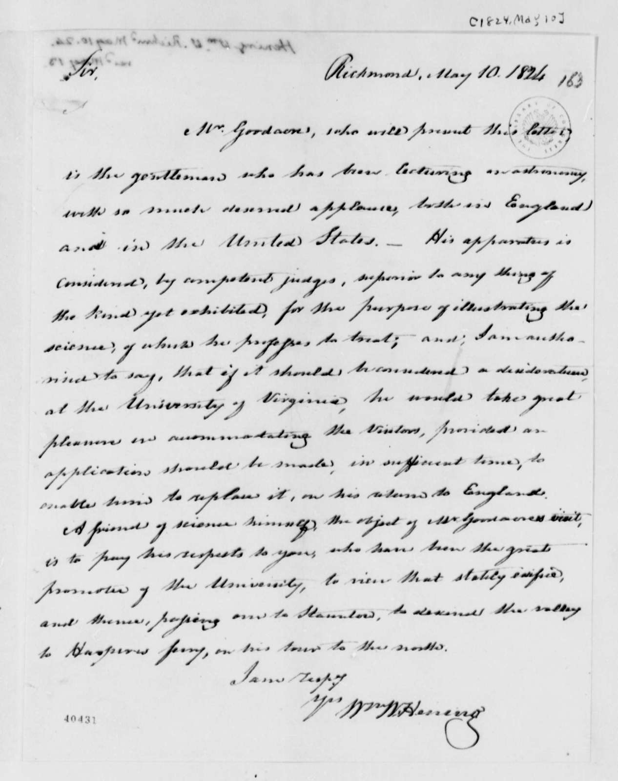 William Waller Hening to Thomas Jefferson, May 10, 1824