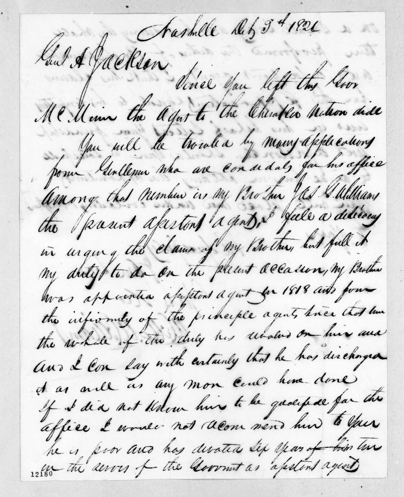 Willoughby Williams to Andrew Jackson, December 3, 1824