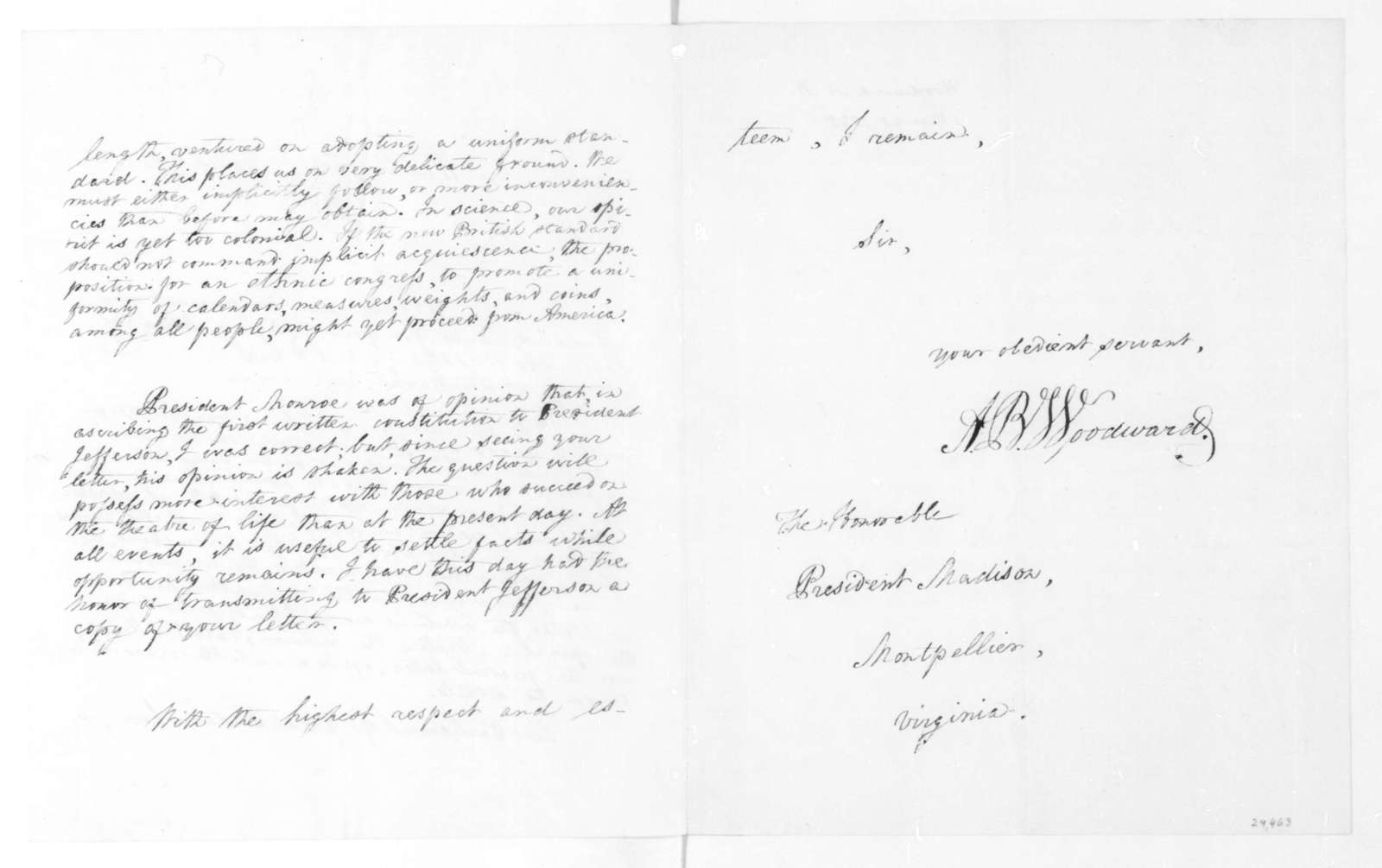 A. B. Woodward to James Madison, March 25, 1825.