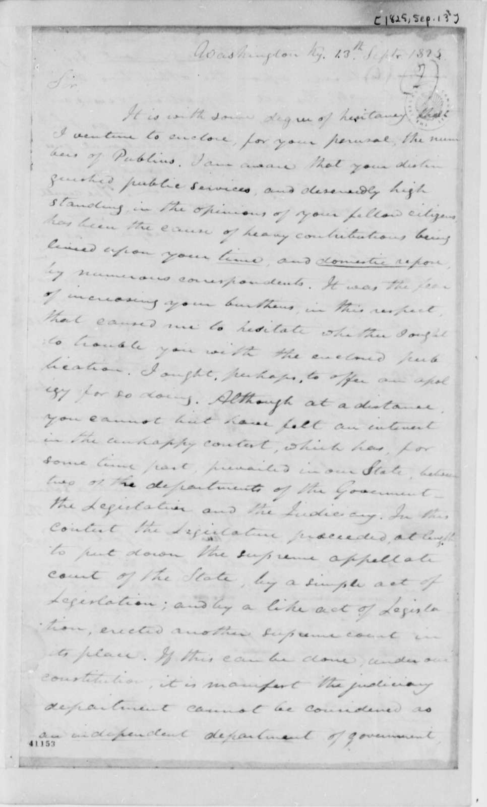 A. Beatty to Thomas Jefferson, September 13, 1825