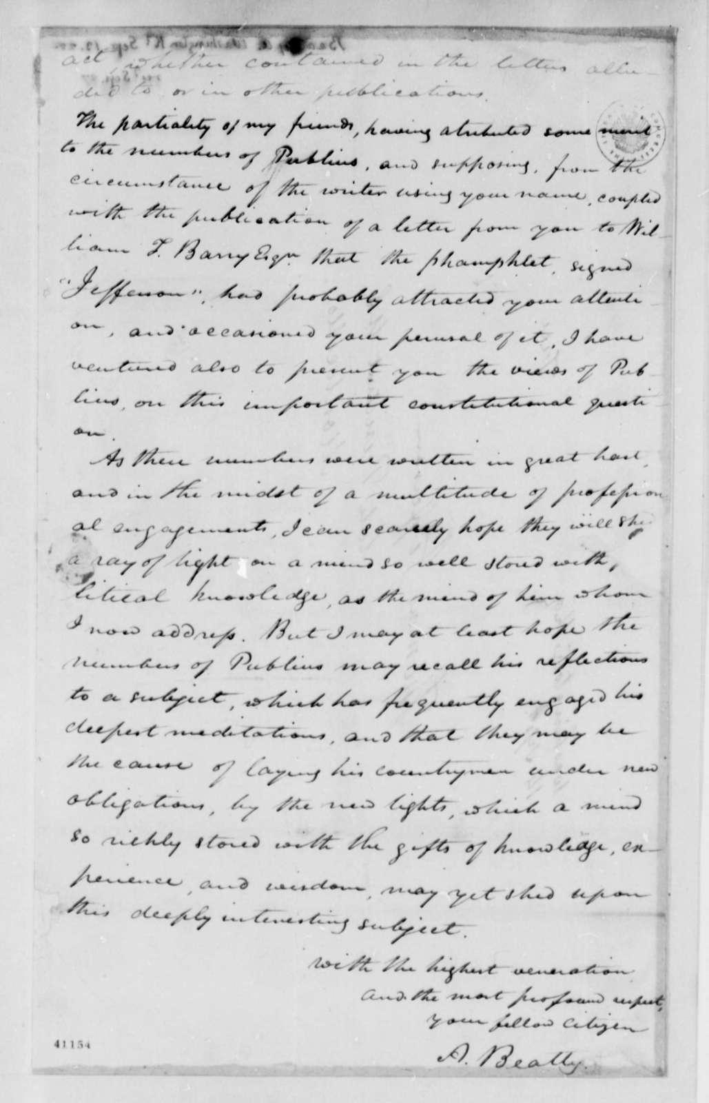 A. Beatty to Thomas Jefferson, September 13, 1825