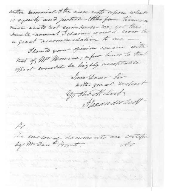 Alexander Scott to James Madison, September 10, 1825.