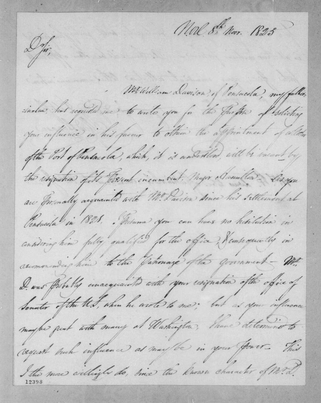 Alfred Hennen to Andrew Jackson, November 8, 1825