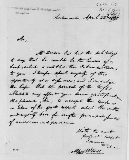 Alfred W. Elwes to Thomas Jefferson, April 22, 1825