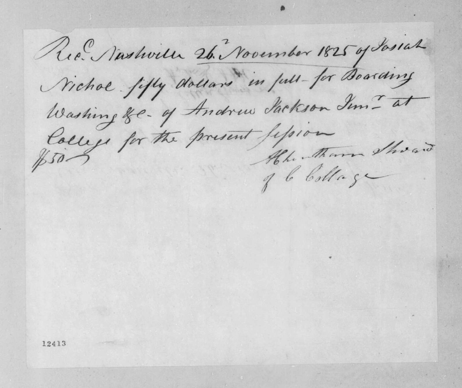 Anderson Cheatham to Josiah Nicholl, November 26, 1825