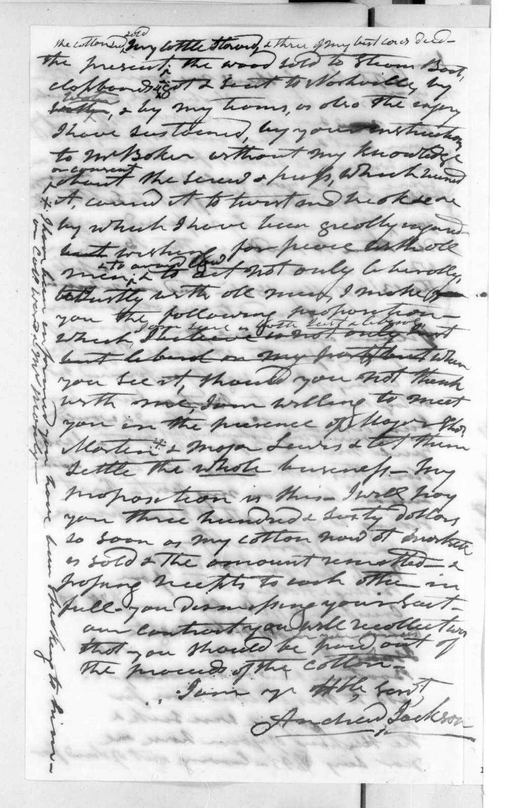 Andrew Jackson to Benjamin P. Person, May 13, 1825