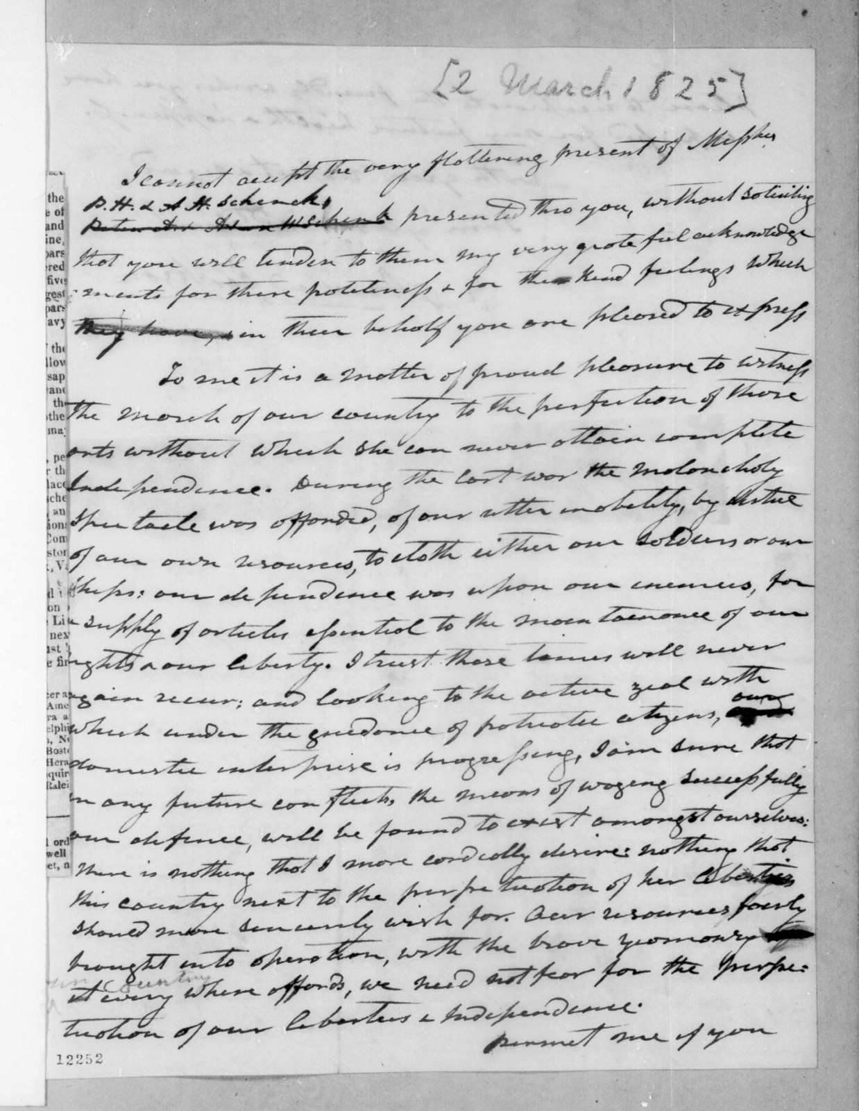 Andrew Jackson to Hector Craig, March 2, 1825