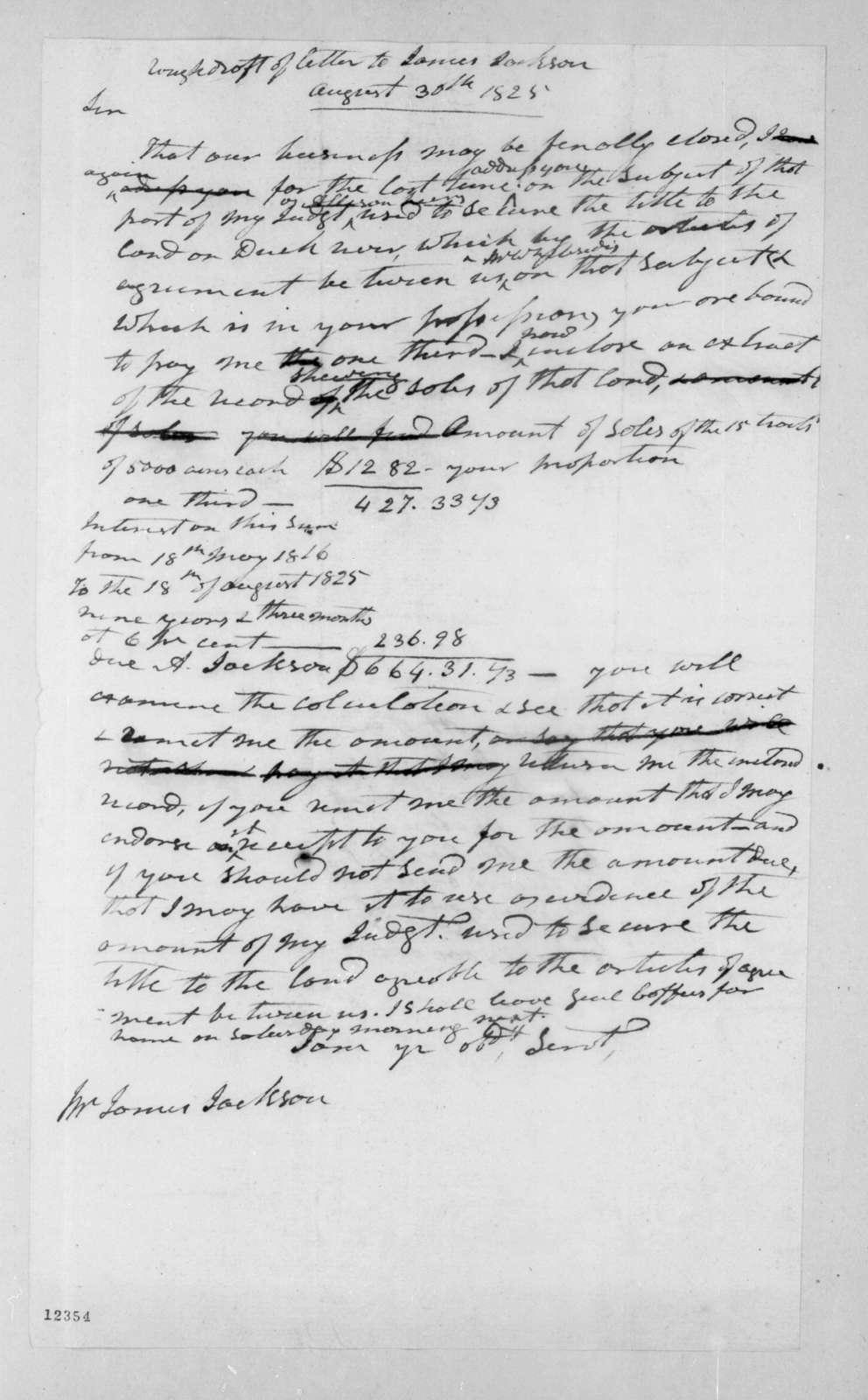 Andrew Jackson to James Jackson, August 30, 1825