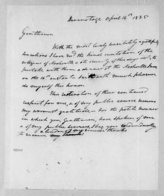 Andrew Jackson to Nashville Citizens, April 14, 1825
