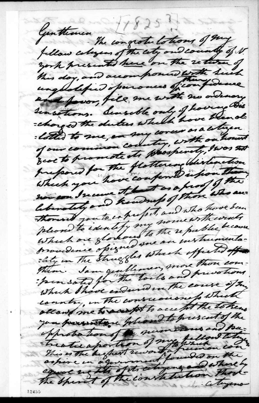 Andrew Jackson to New York Delegation