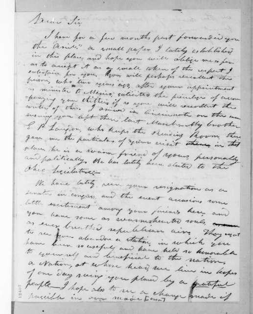 Andrew Jackson to Richard Chester Langdon, November 18, 1825
