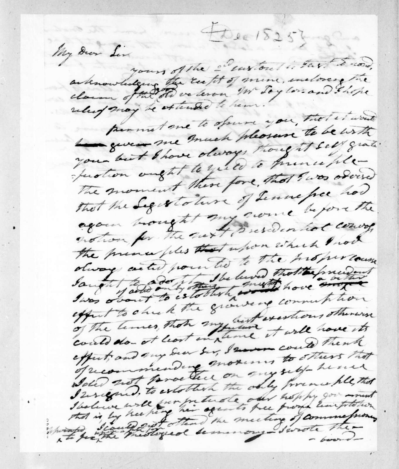 Andrew Jackson to Richard Mentor Johnson