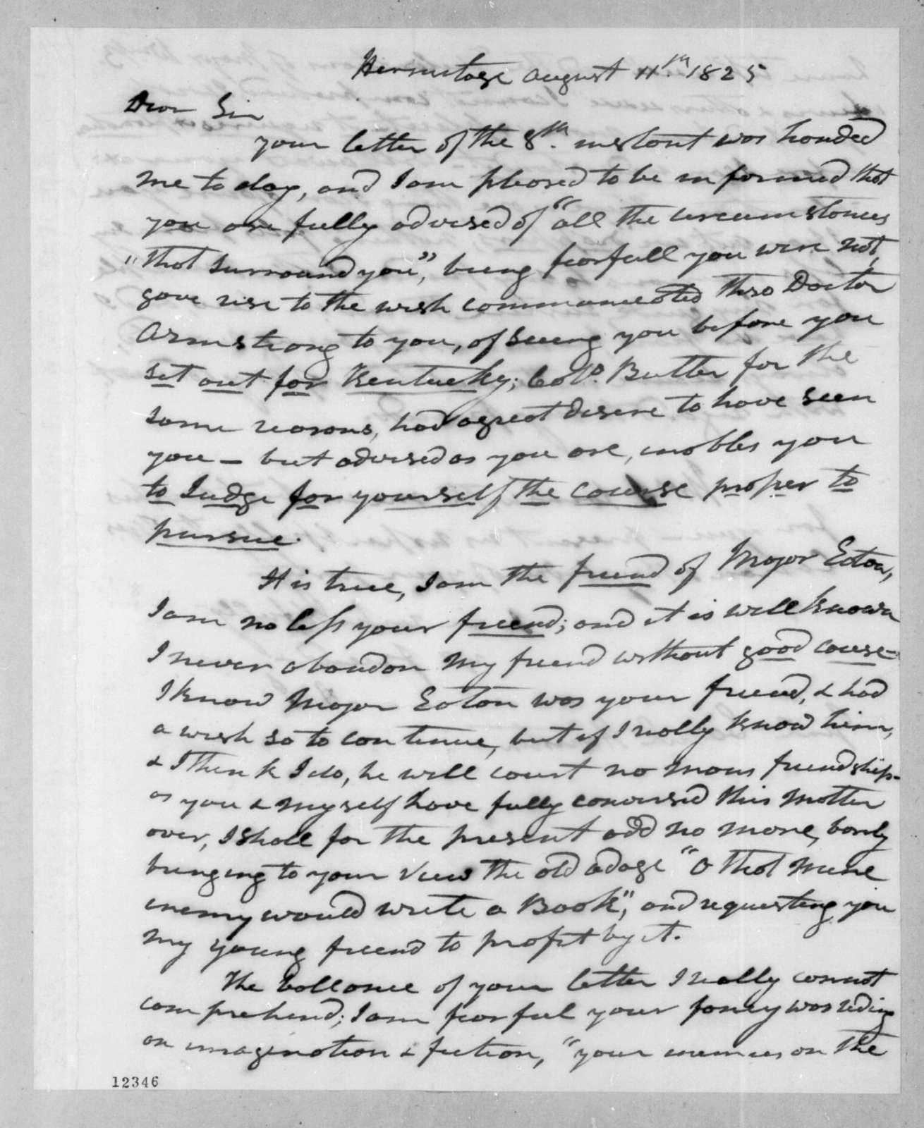 Andrew Jackson to Samuel Houston, August 11, 1825